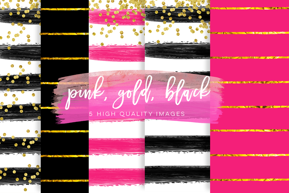 pink black digital paper, Valentines day digital paper, Gold Black printable paper, gold pink printable paper, pink and gold backgrounds example image 2