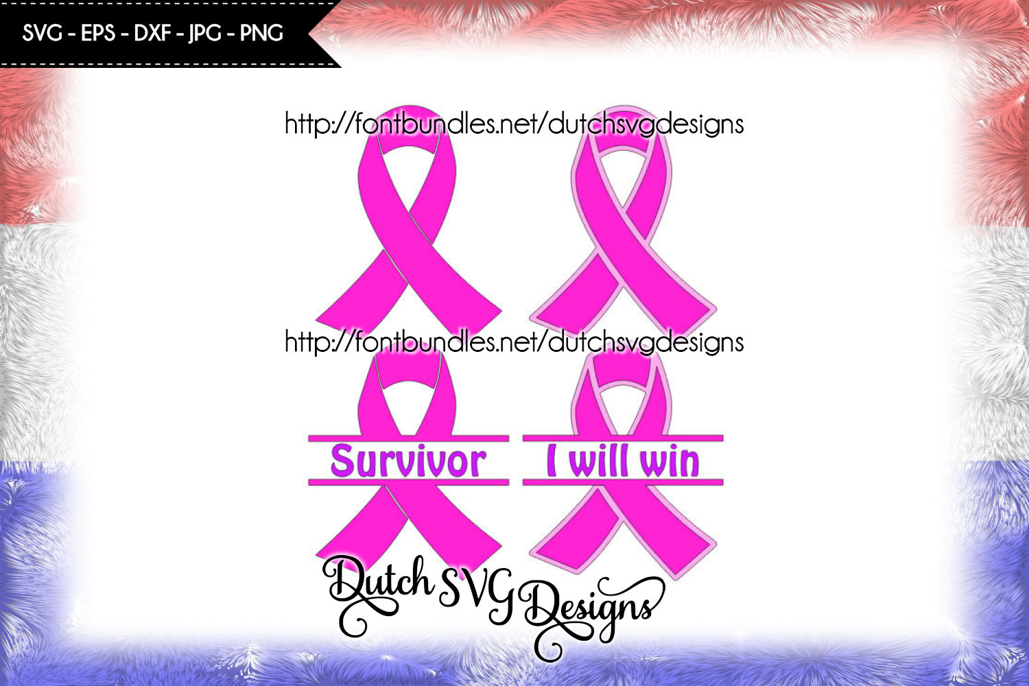 4 Pink ribbon cutting files with text Survivor and I Will Win example image 1