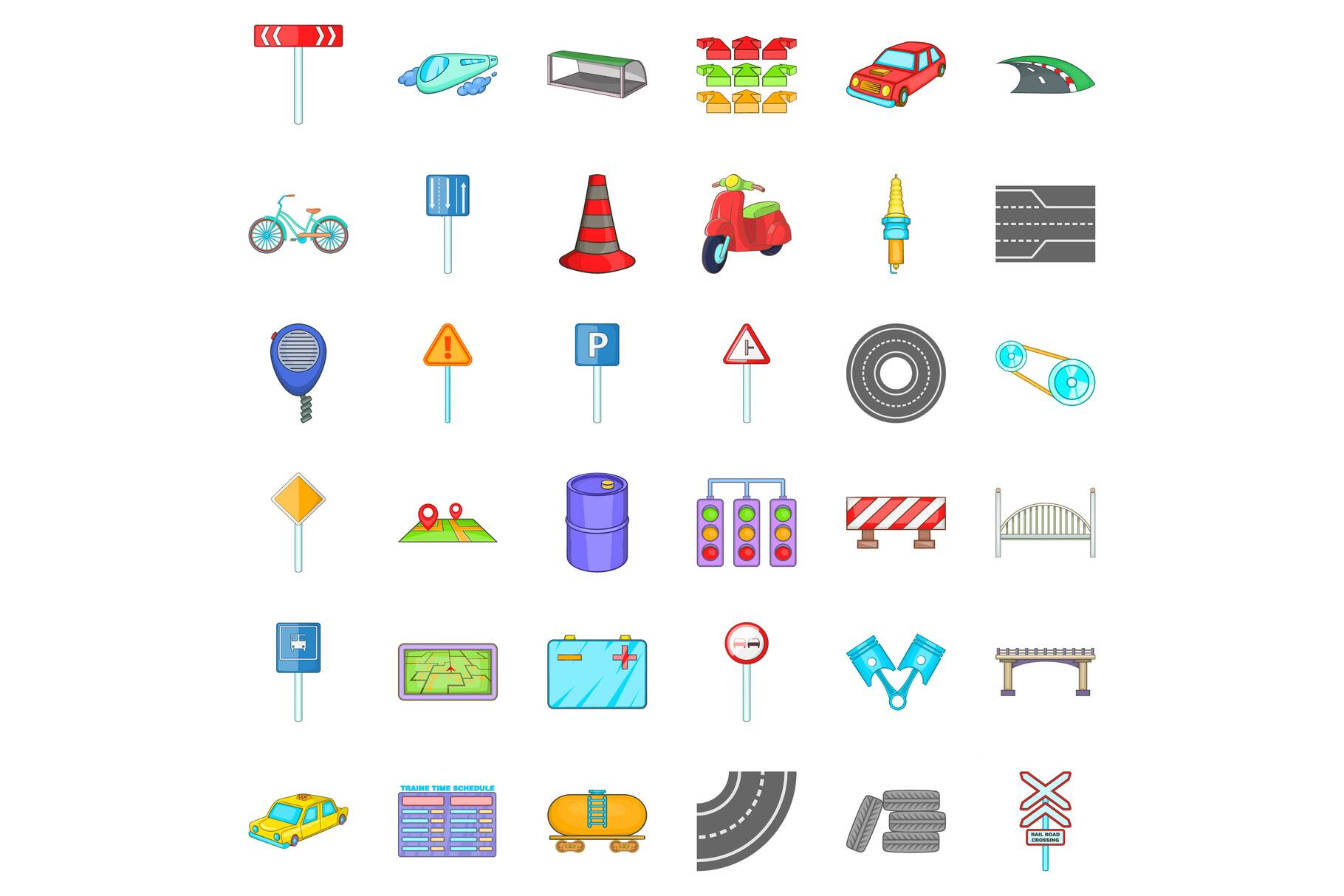 Road sigh icons set, cartoon style example image 1