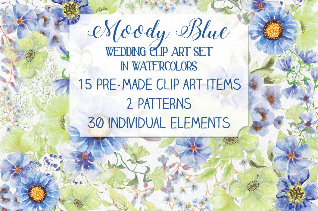 'Moody Blue' watercolor clip art bundle example image 1