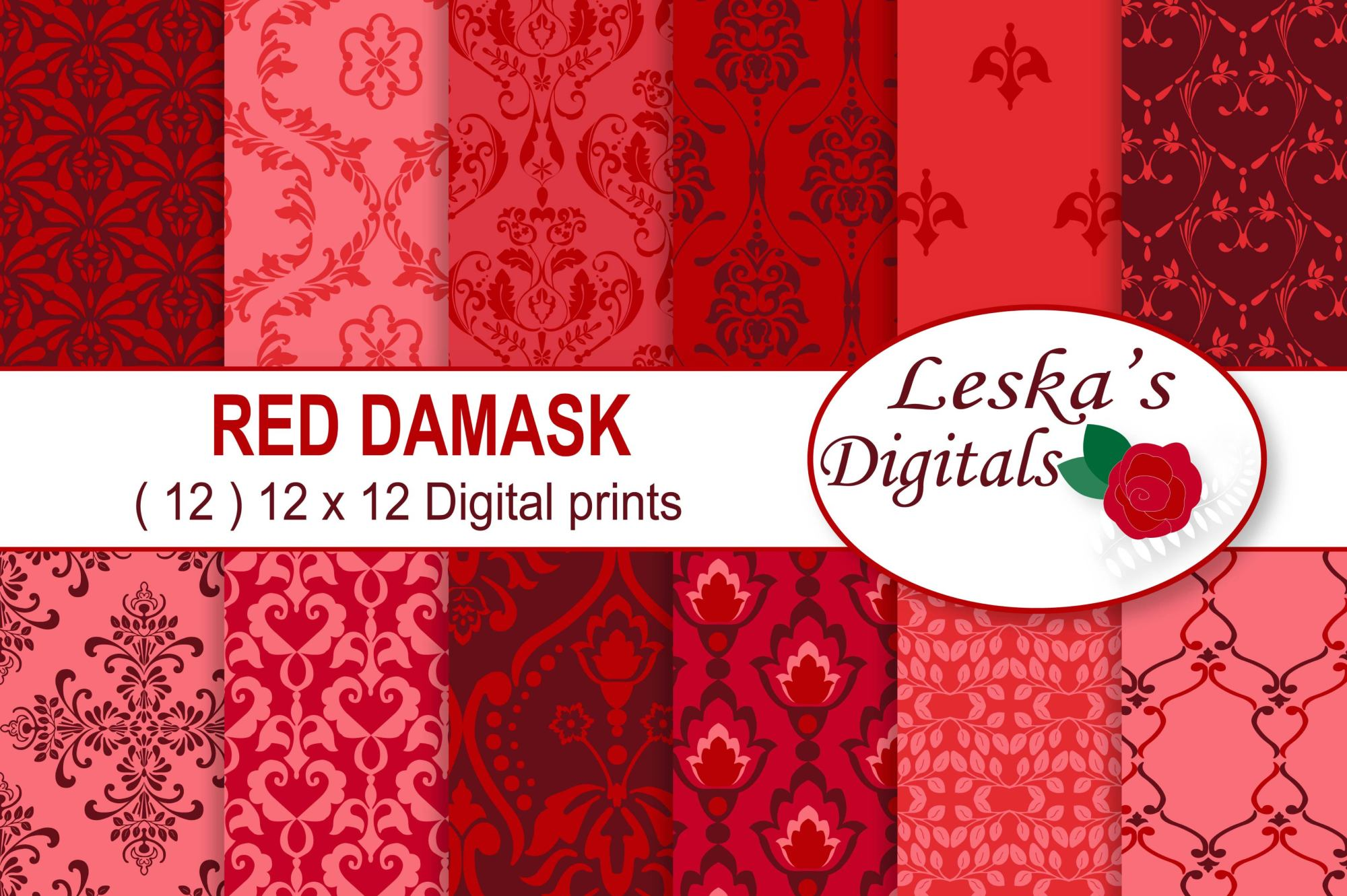 Red Damask Digital Paper example image 1