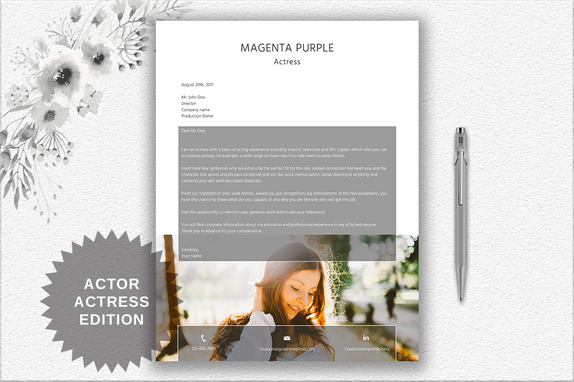 Modern Resume Template | Actor/Actress example image 4