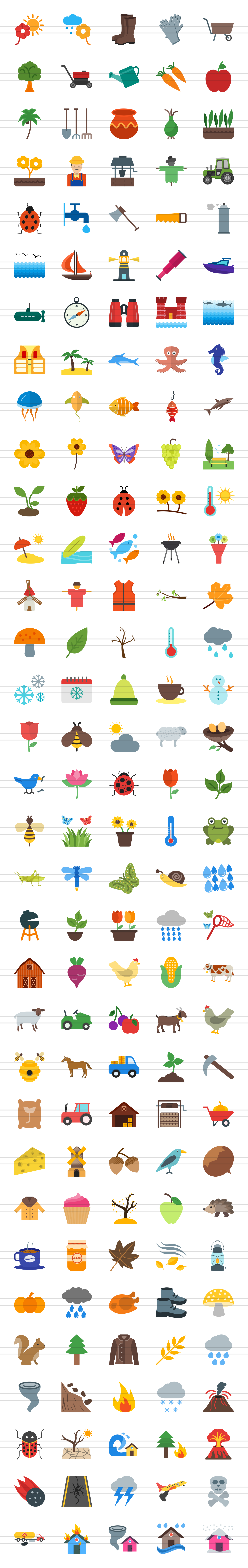 166 Nature & Outdoor Flat Icons example image 3