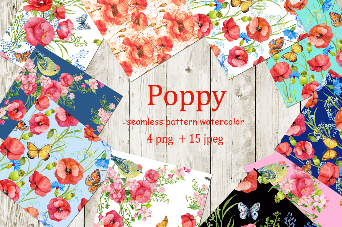 Seamless patterns. Poppies example image 2