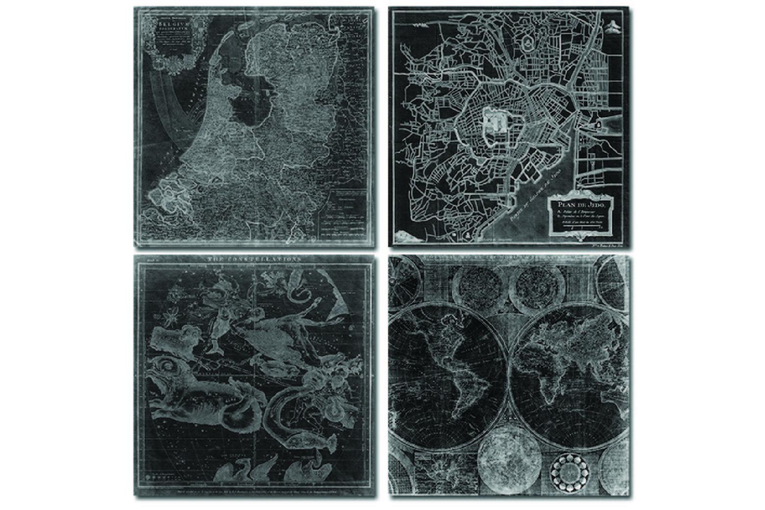 chalkboard maps digital paper 14 antique papers
