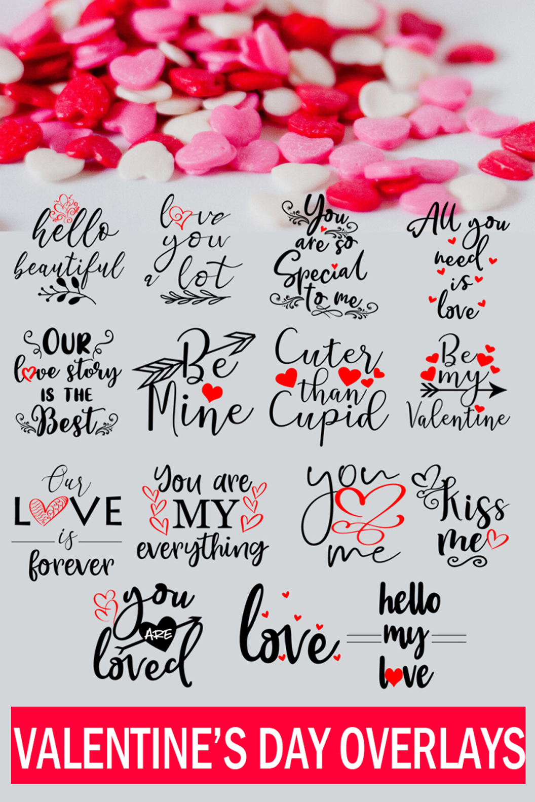 Cute Valentines Overlays-Valentines Day Overlay Collection example image 9