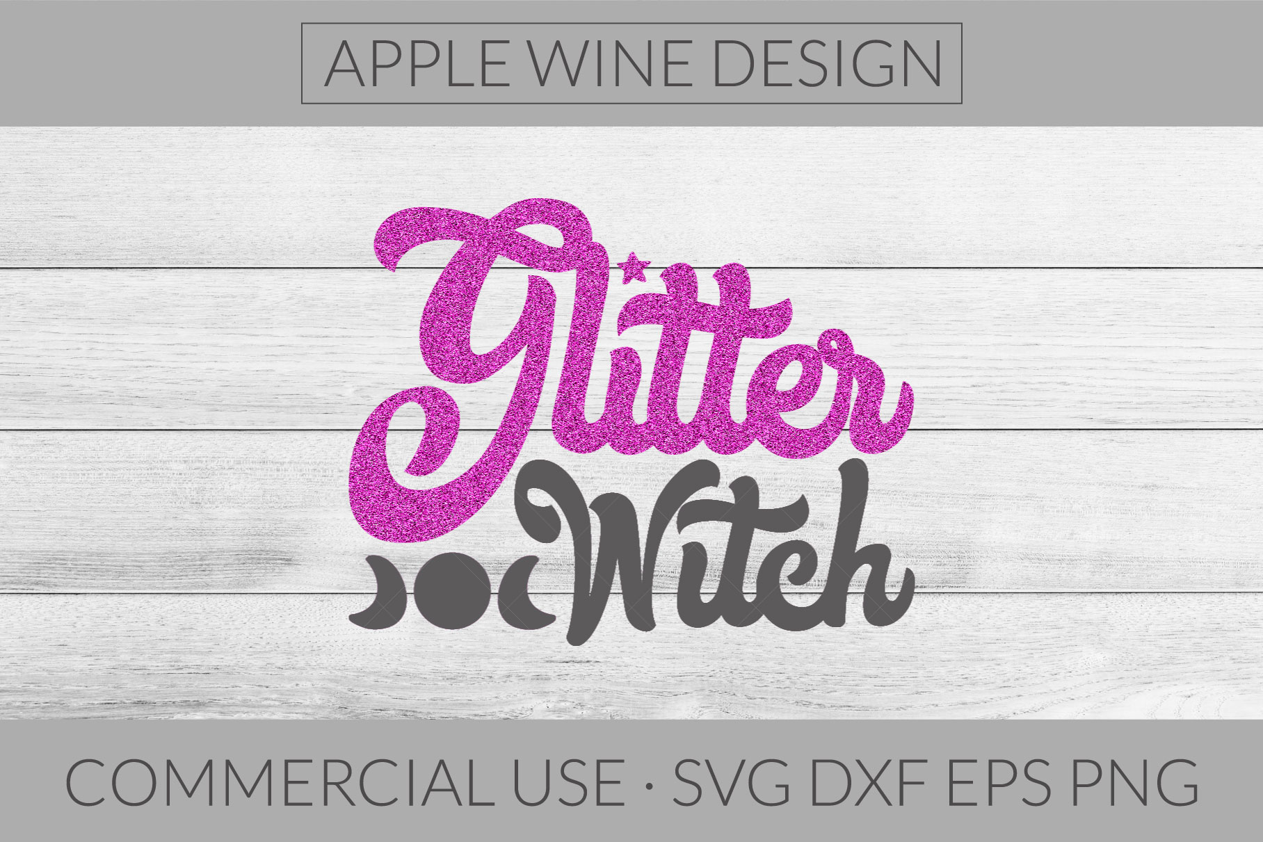 Glitter Witch SVG DXG PNG EPS Cutting File example image 1
