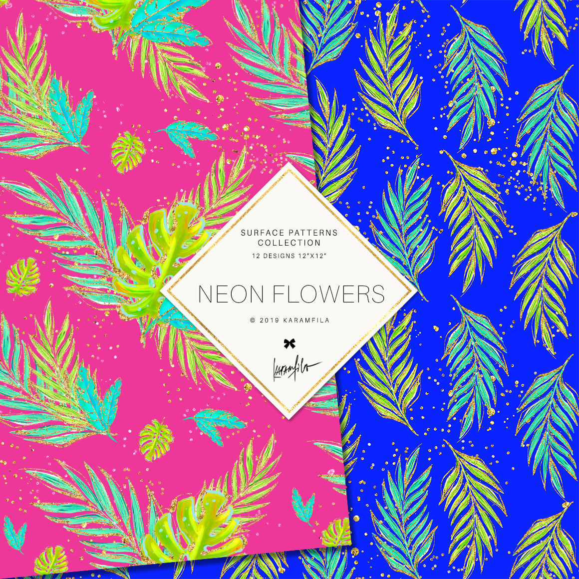 Neon Tropical Digital Paper, Tropical Floral Patterns example image 4