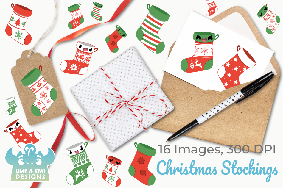 Christmas Stockings Clipart, Instant Download Vector Art example image 4