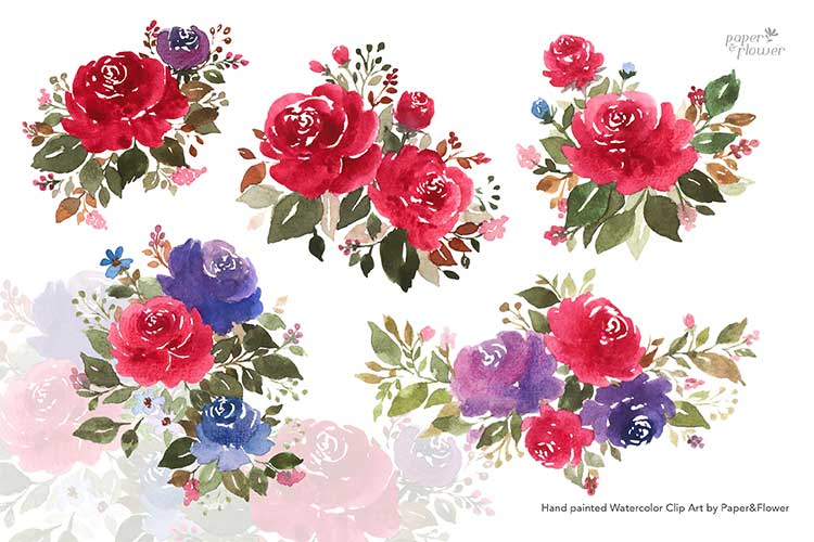 Maroon Rose Floral Watercolor Bouquet Set example image 2