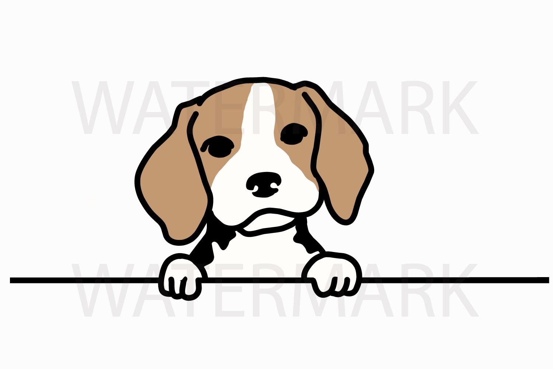 Peeping Beagle saying hello - SVG/JPG/PNG Hand Drawing example image 1