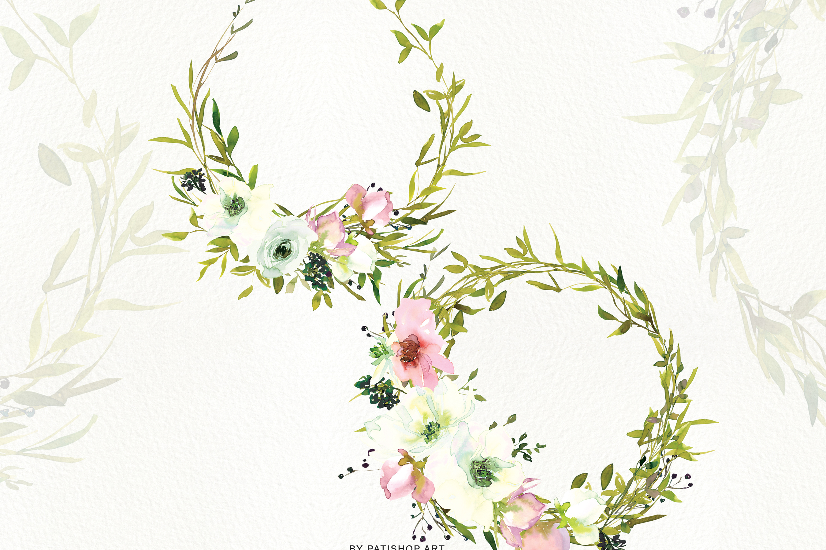 Watercolor Blush and WhiteRose Clipart and Wreaths example image 8