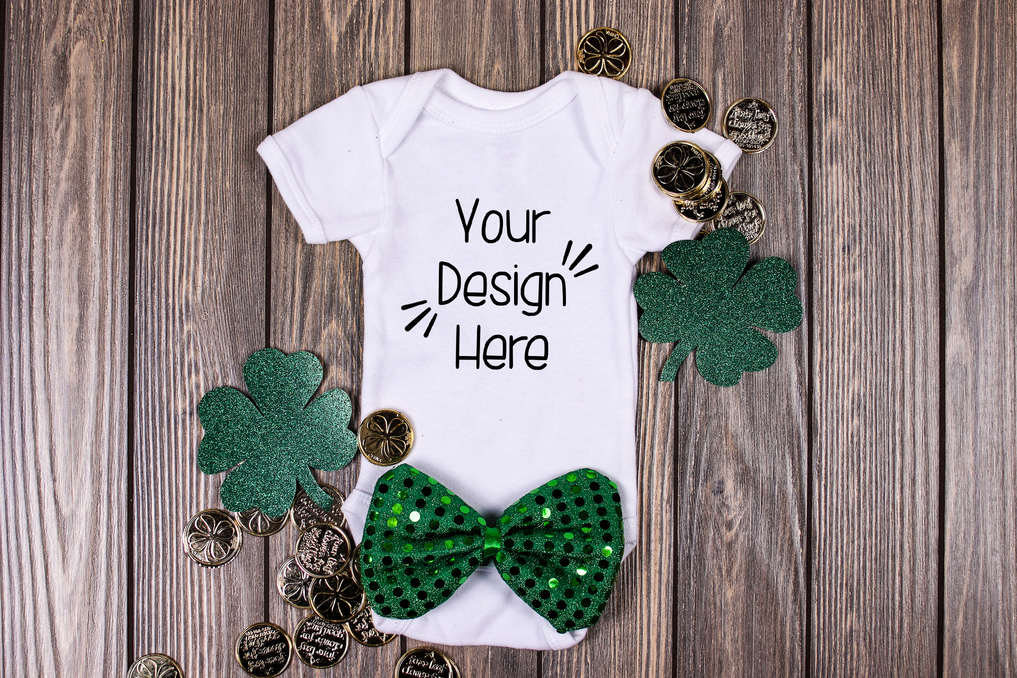 March Baby Suit Mockup 5| St Patricks Day Baby shirt Mockup example image 1
