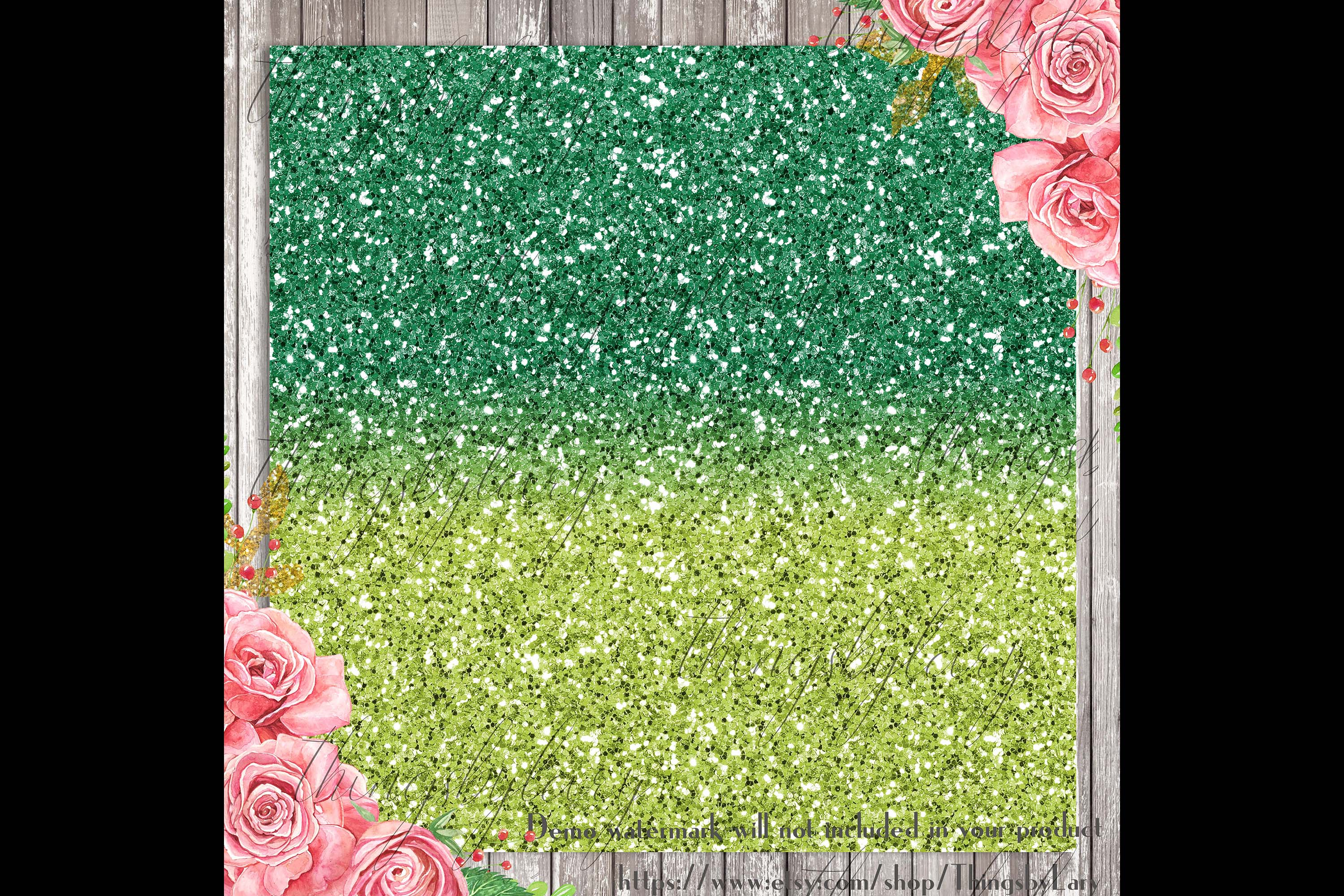 18 Ombre Pink and Lime Watermelon Glitter Digital Papers example image 3