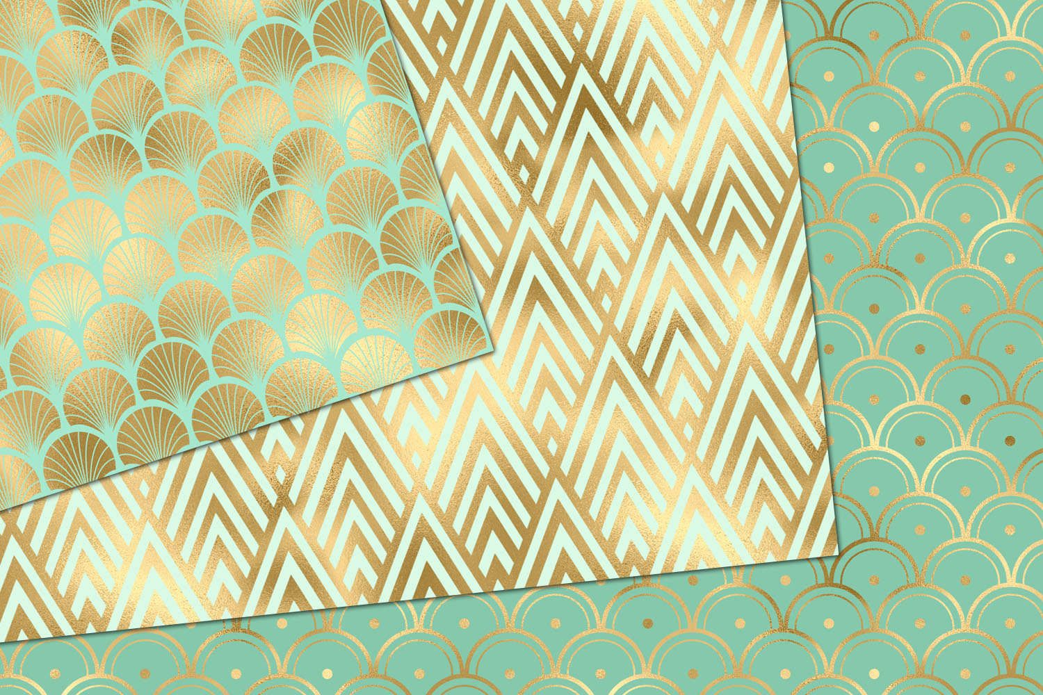 Mint and Gold Art Deco Digital Paper example image 2