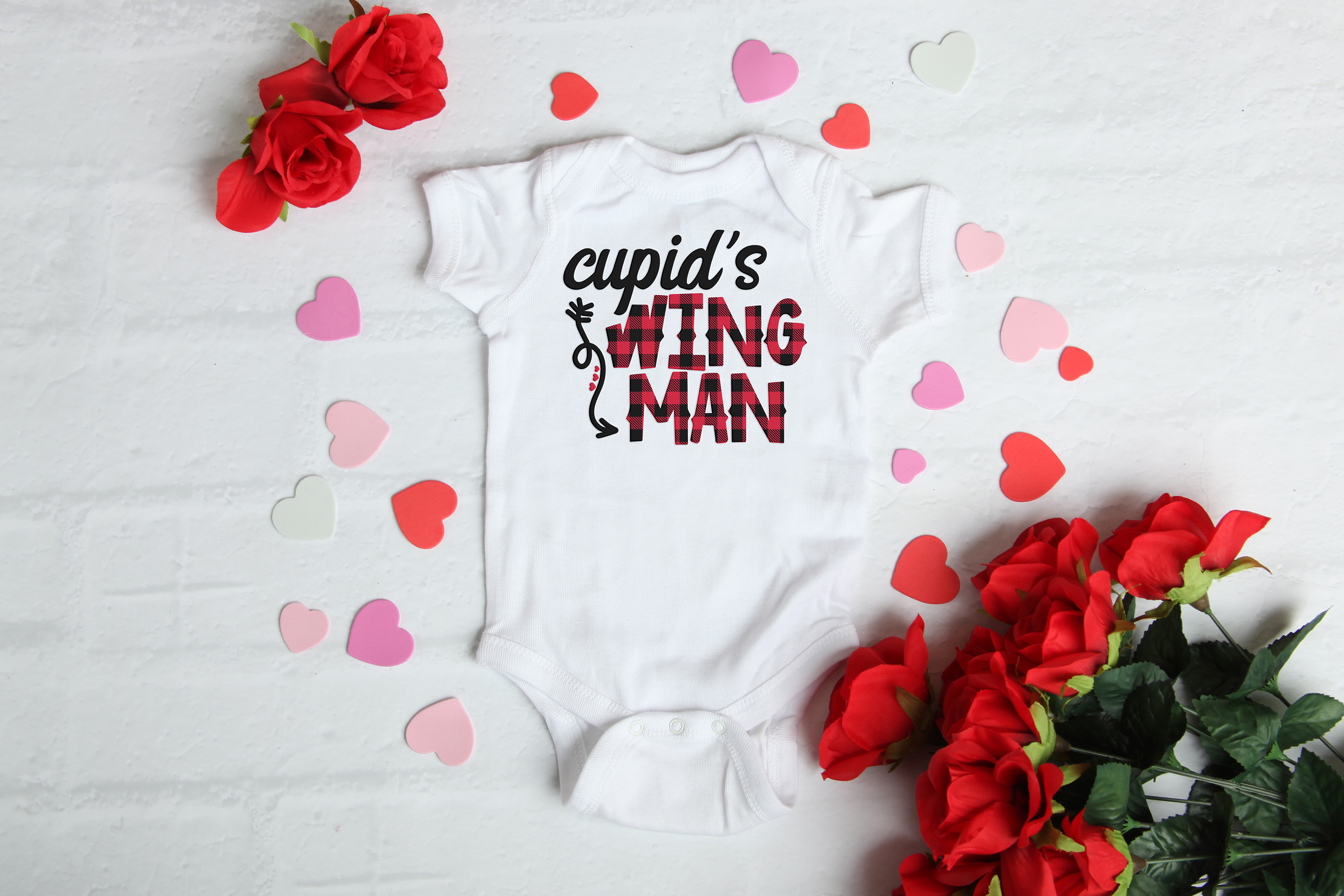 Cupid's Wing Man - A Buffalo Plaid Valentine's Day SVG example image 2