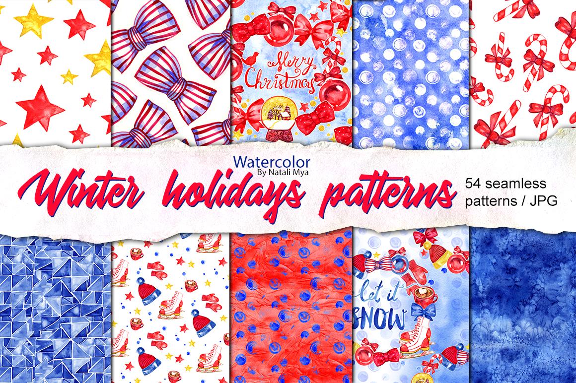 54 winter holidays seamless patterns example image 1