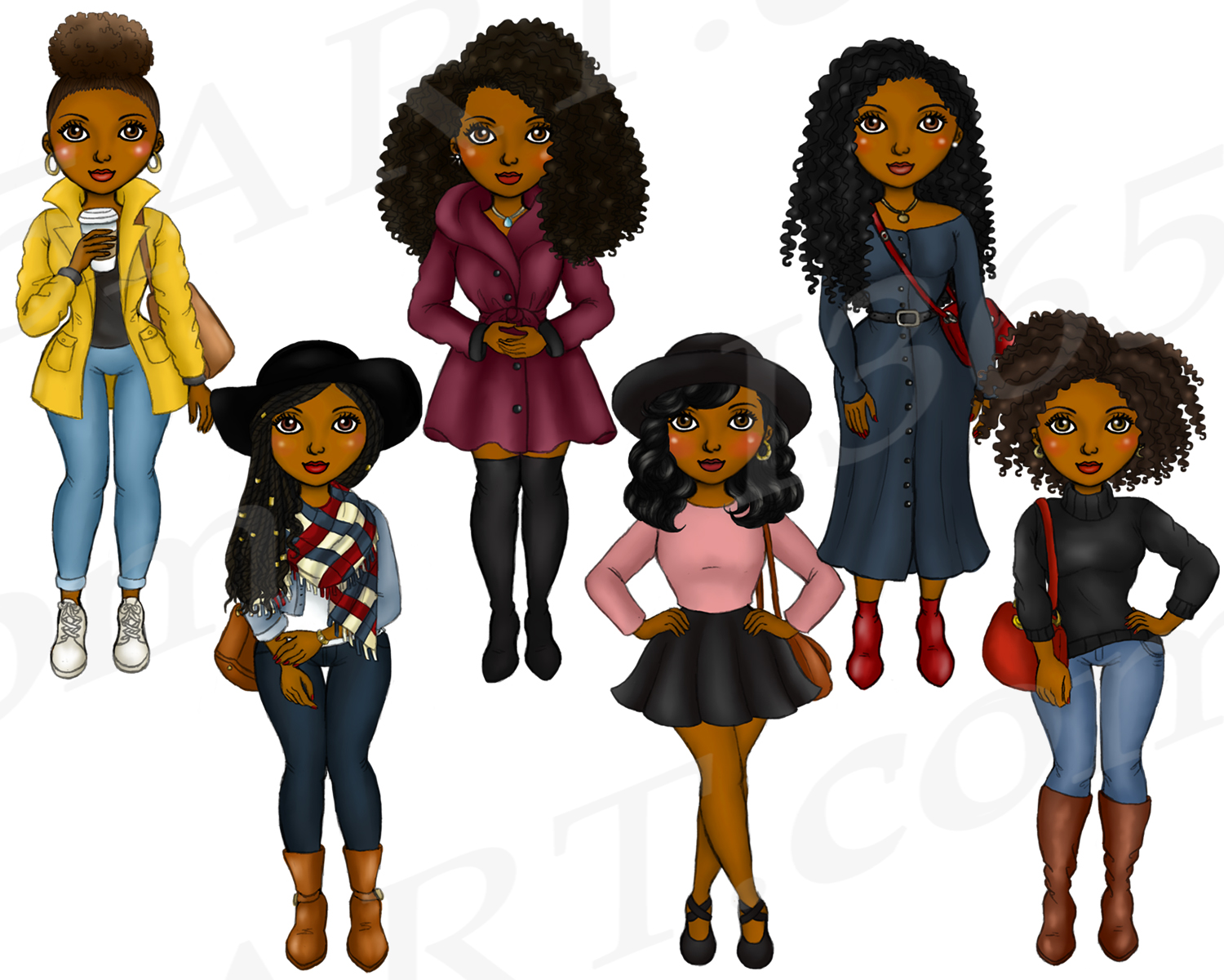 Fall Fashion Autumn Girls Natural Hair Planner Clipart Set example image 3