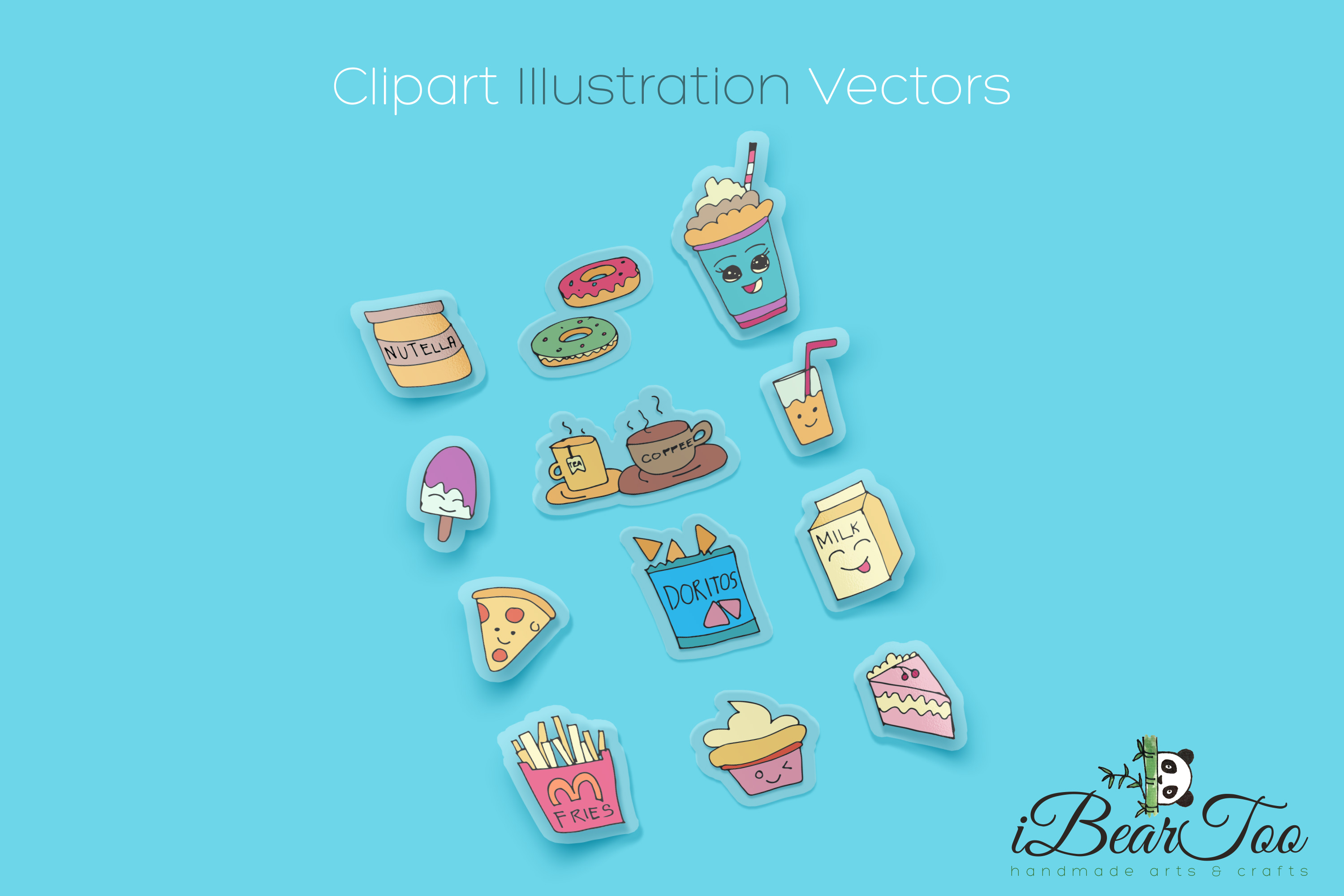 Food SVG Bundle Color Clipart Doodle Drawing Vector Cut File example image 3
