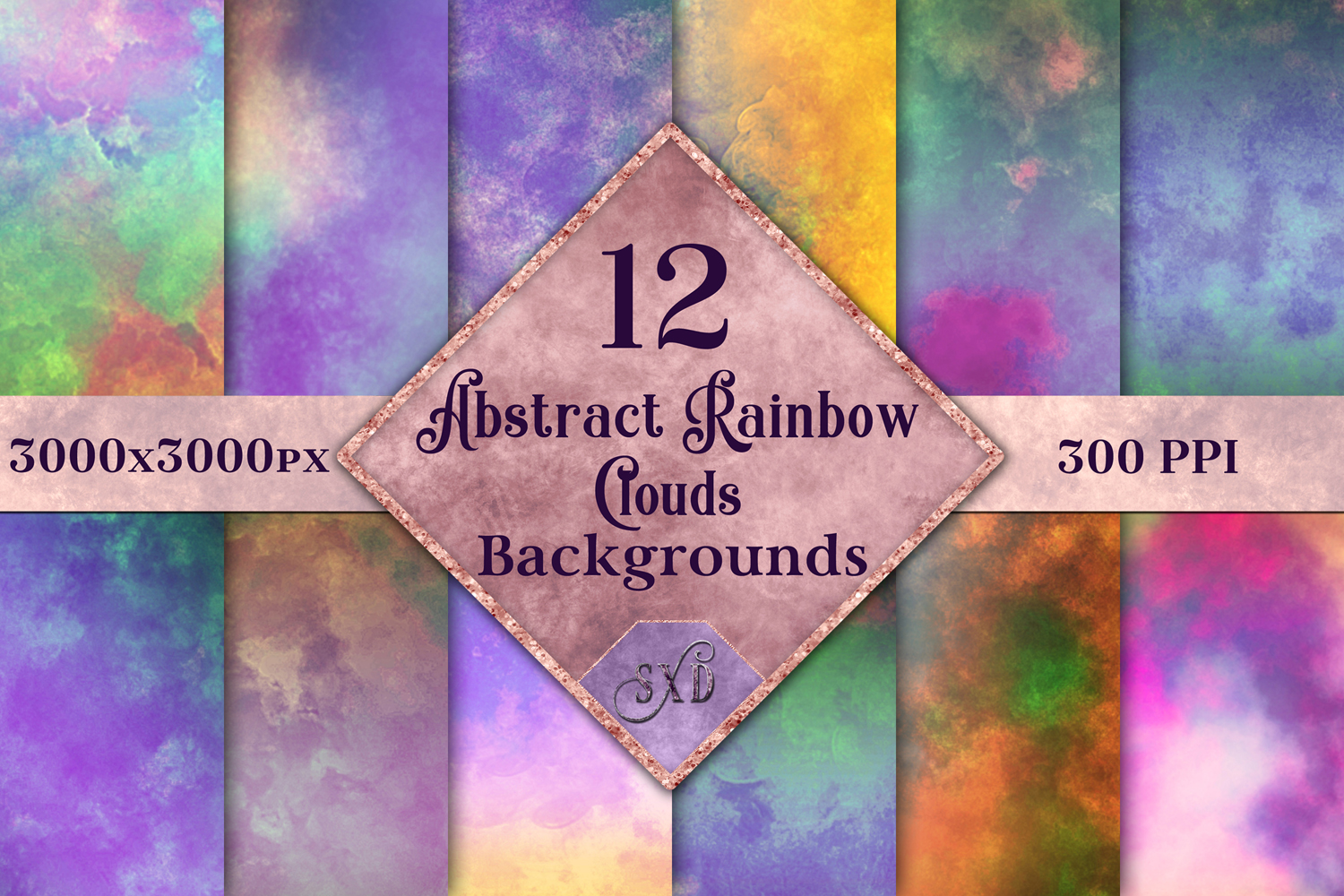 Abstract Rainbow Clouds Backgrounds - 12 Image Set example image 1