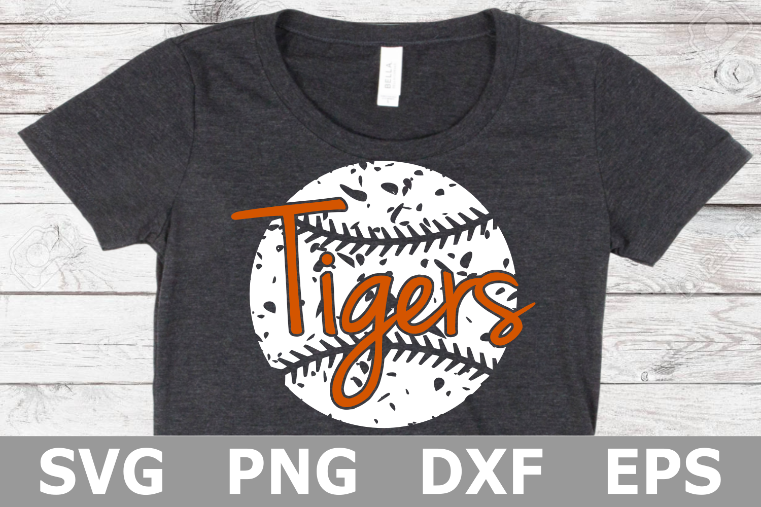 Tigers Grunge Baseball - A Sports SVG Cut File example image 1