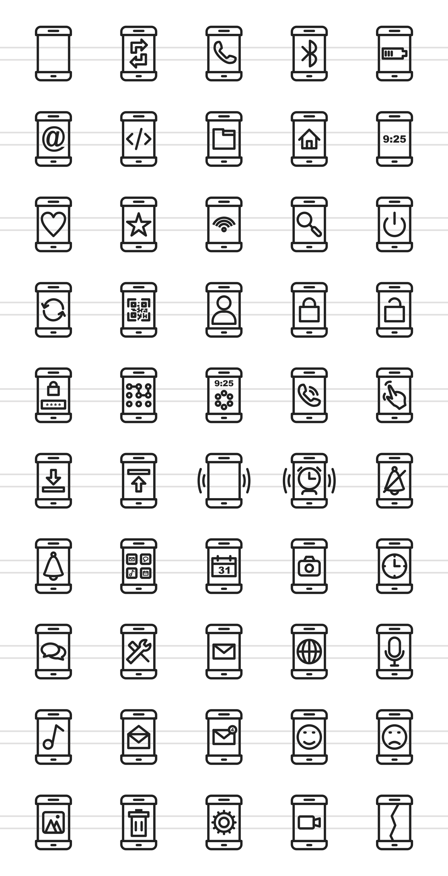 50 Smartphone Line Icons example image 2