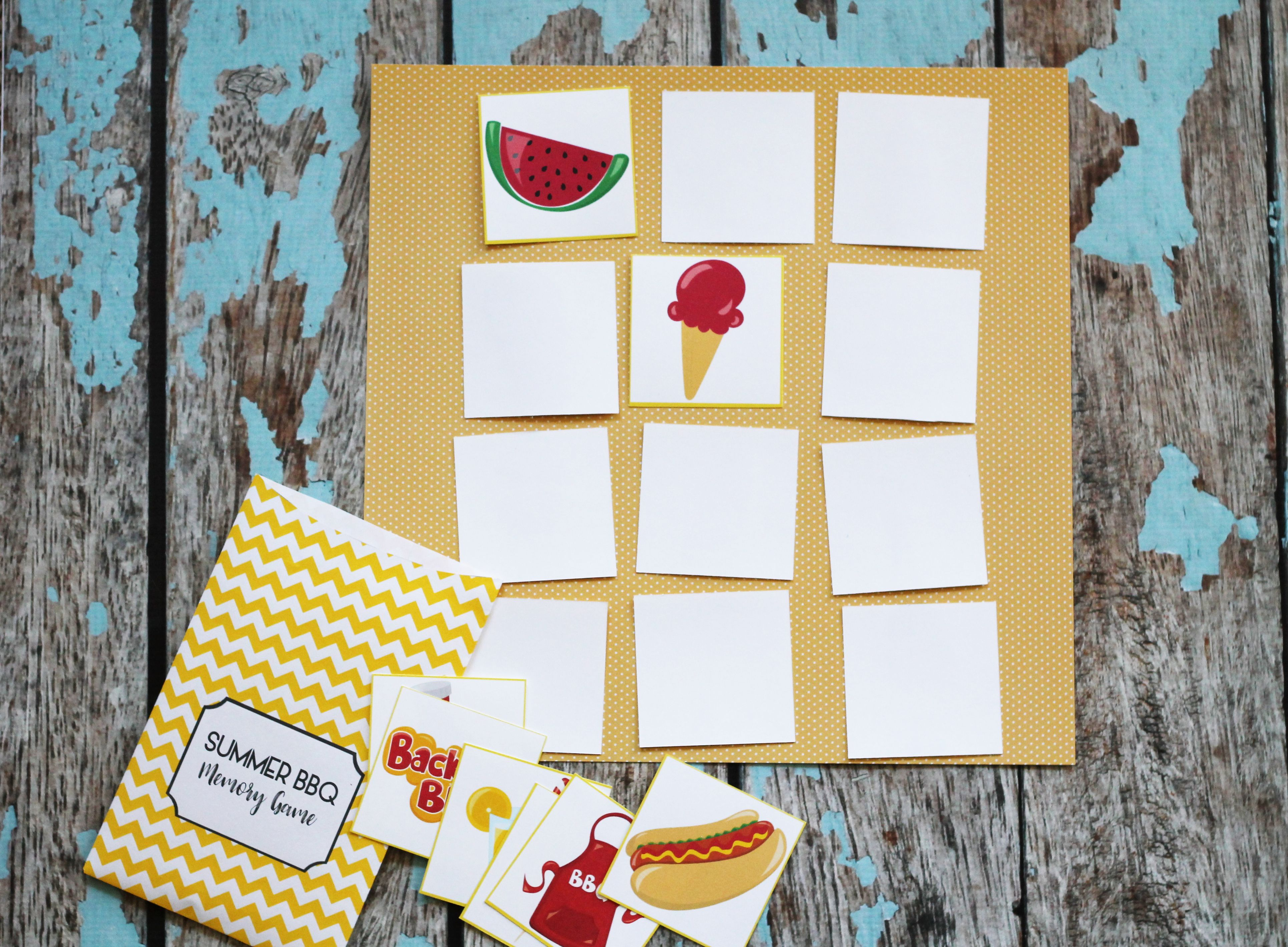 Printable Summer Memory Matching Game - 3 Games - ONE Download example image 3