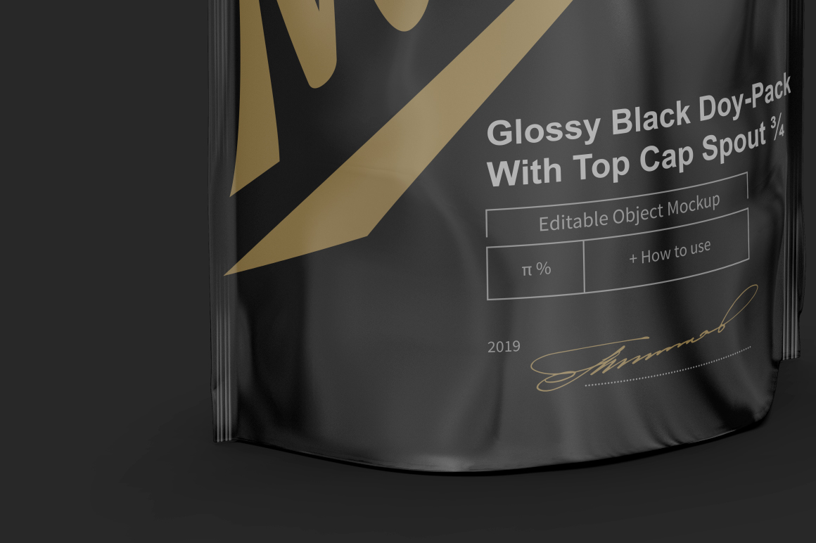 Glossy Black Doy-Pack With Top Cap Spout example image 4