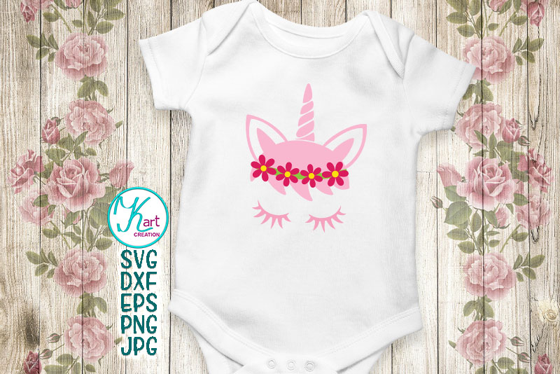 Unicorn face horn girl bundle svg dxf cutting files clipart example image 8