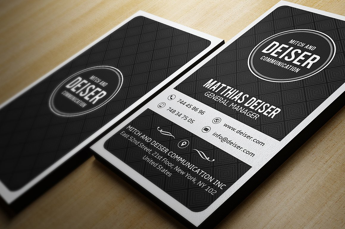 Black And White Business Card example image 2