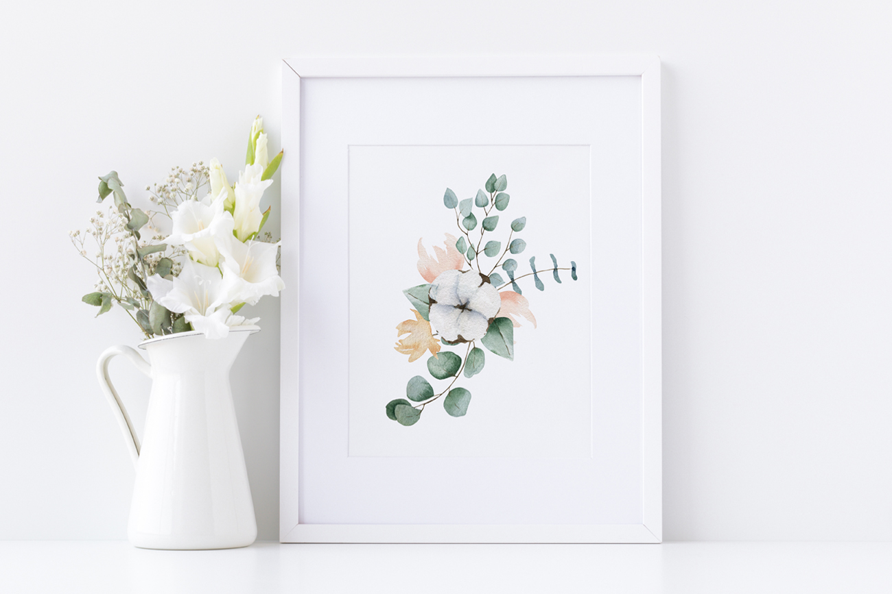 Cotton and Eucalyptus watercolor spring clipart example image 3