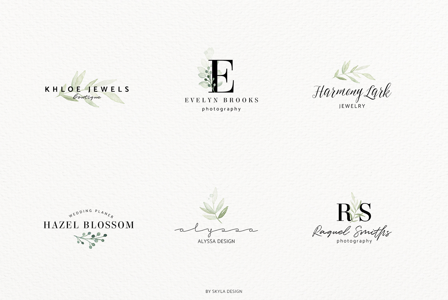 Premade Logo bundle watercolor greenery templates example image 6