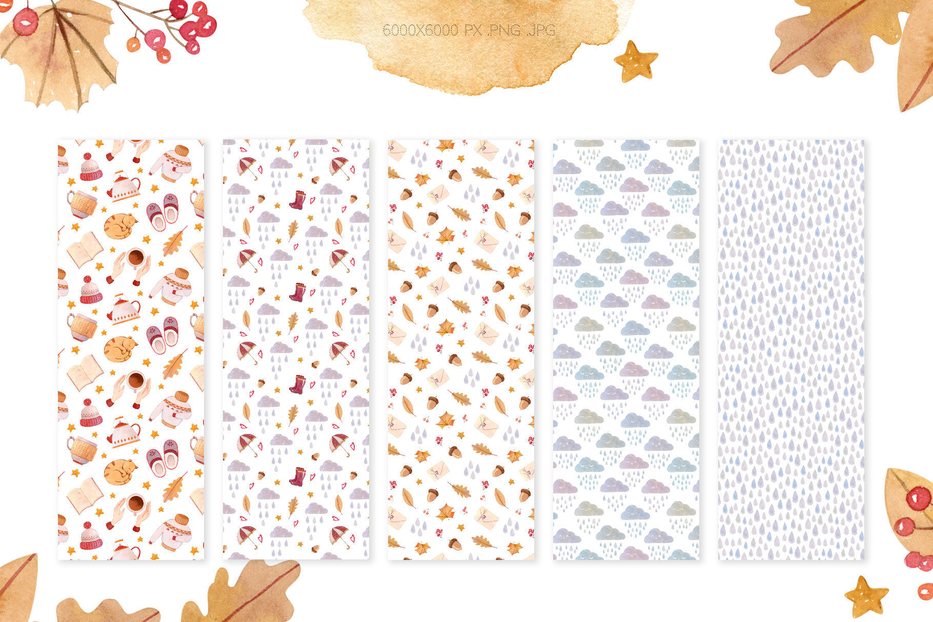 Watercolor Autumn Seamless Patterns Collection example image 11