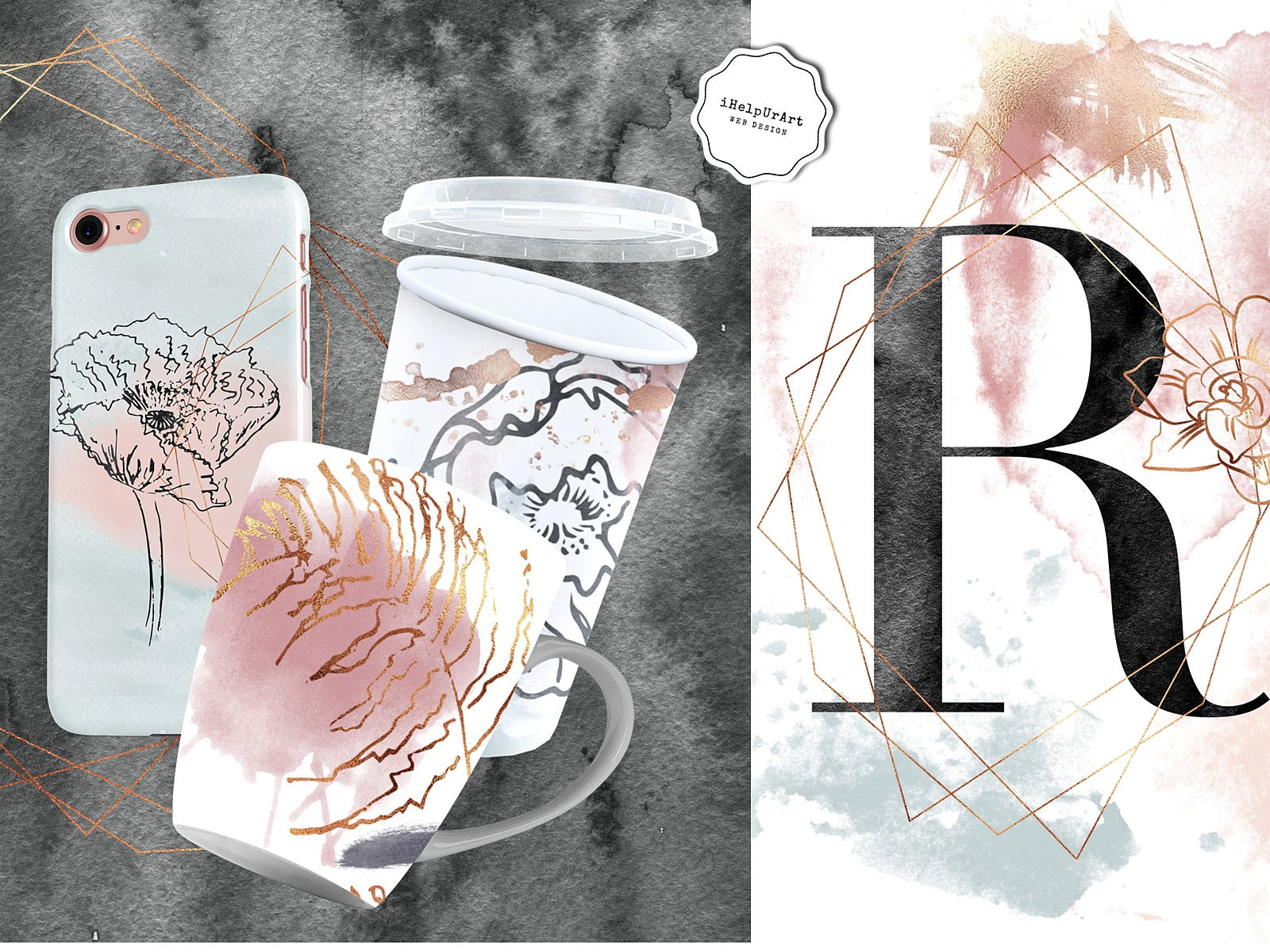 Copper and Watercolor Design Kit example image 2