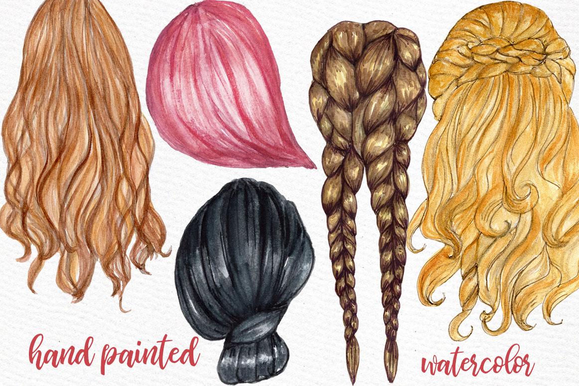 Hairstyles clipart Custom hairstyles Long hair Girls hair example image 2