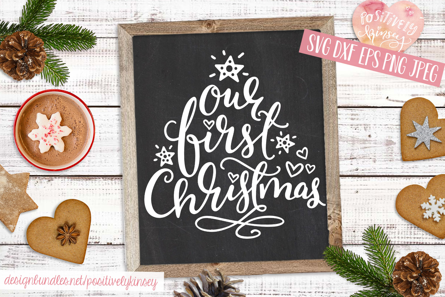 Family Christmas Quote SVG DXF PNG EPS Our First Christmas example image 1