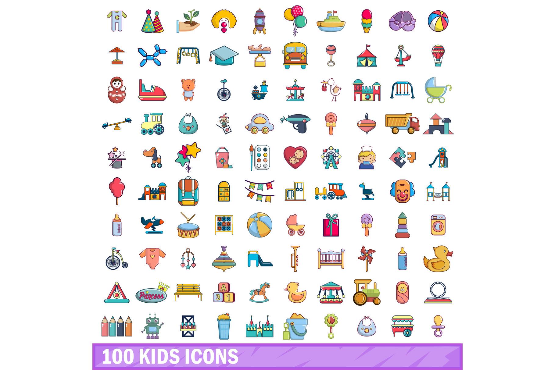 100 kids icons set, cartoon style example image 1