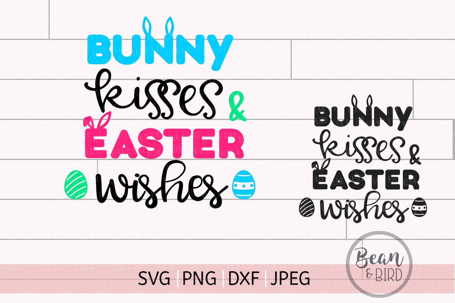 Bunny Kisses Easter Cut File example image 1
