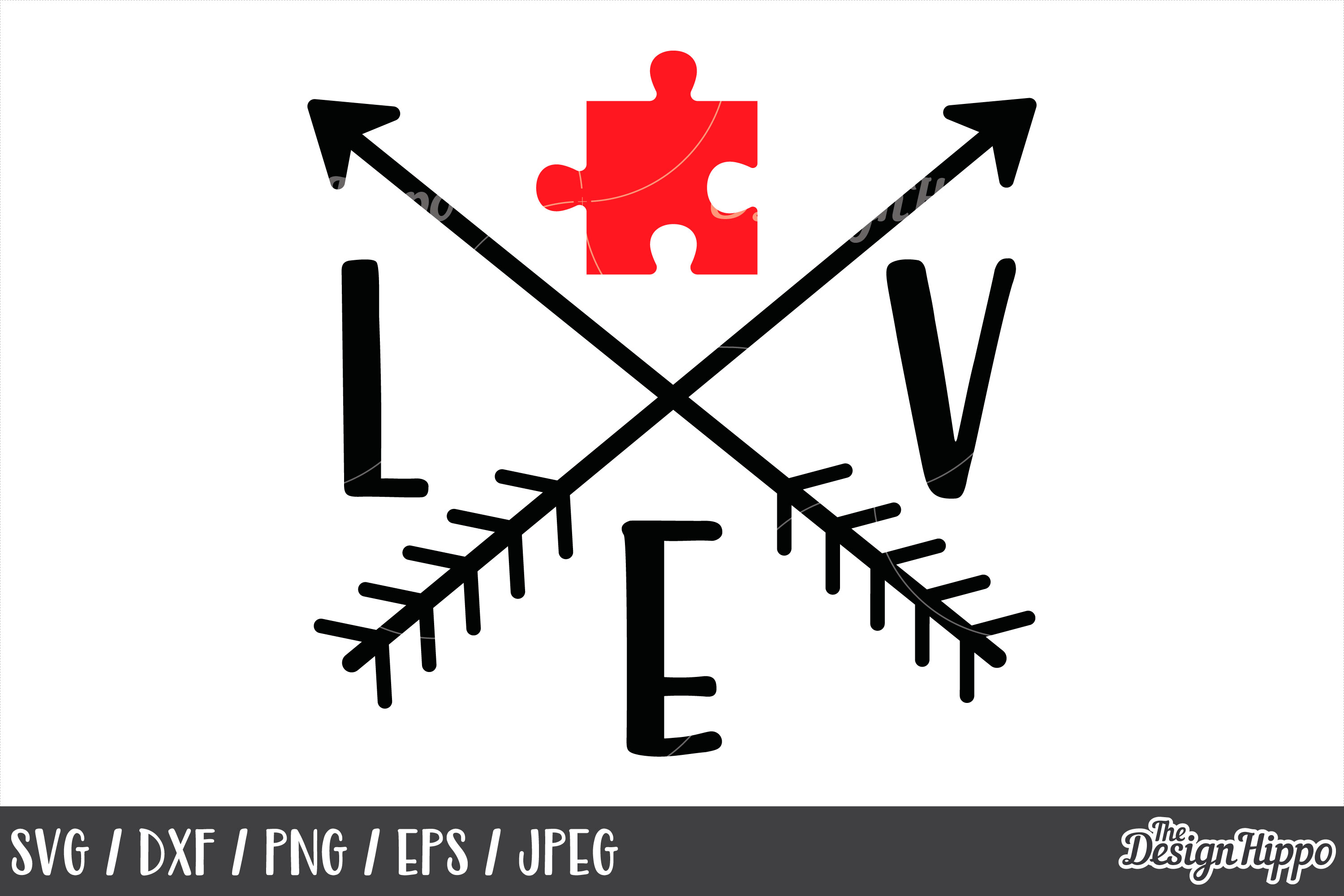 Autism Awareness, Love, Puzzle Piece, Arrows, SVG DXF PNG example image 1