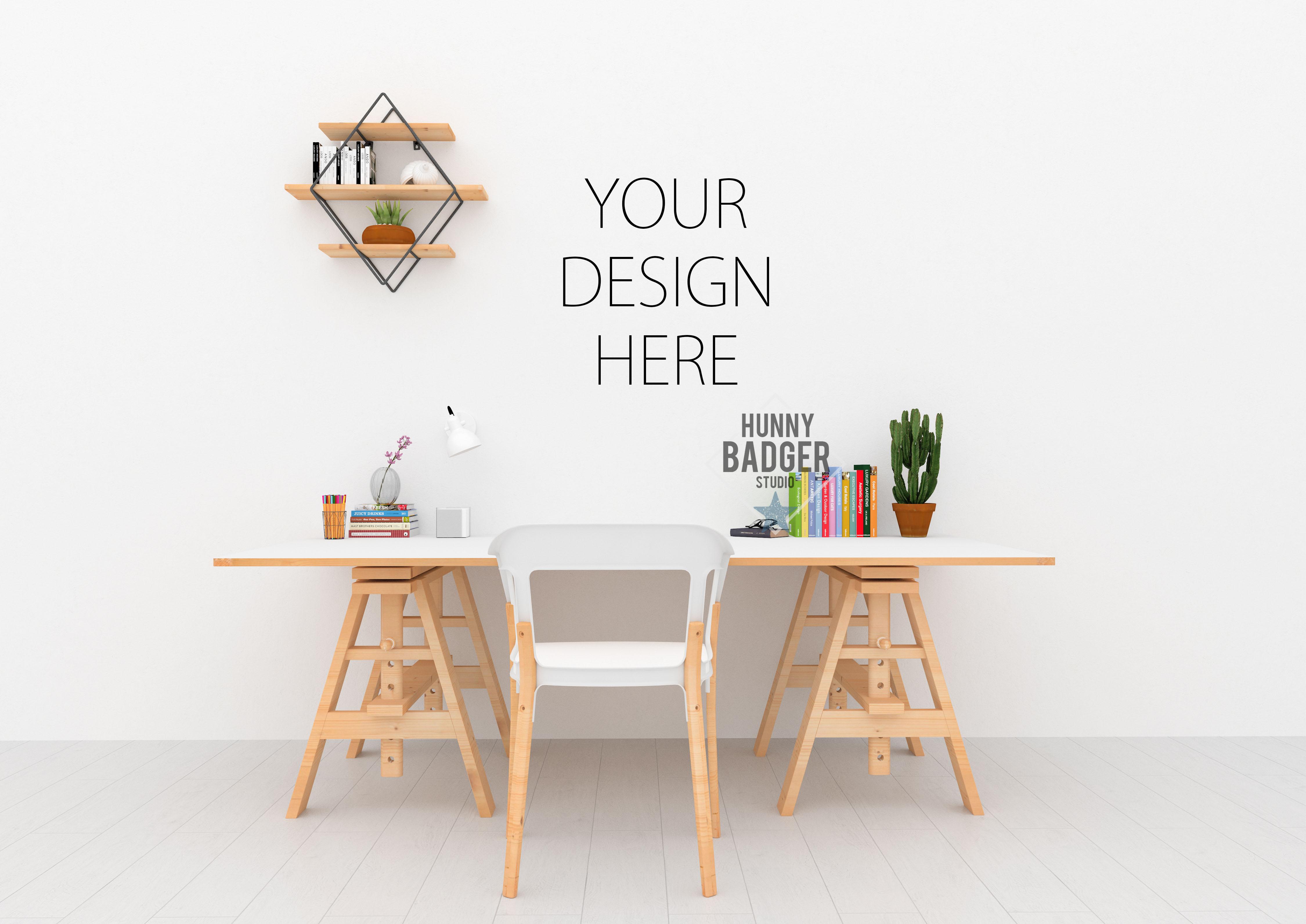 Desk mockup - wall art mock up example image 1
