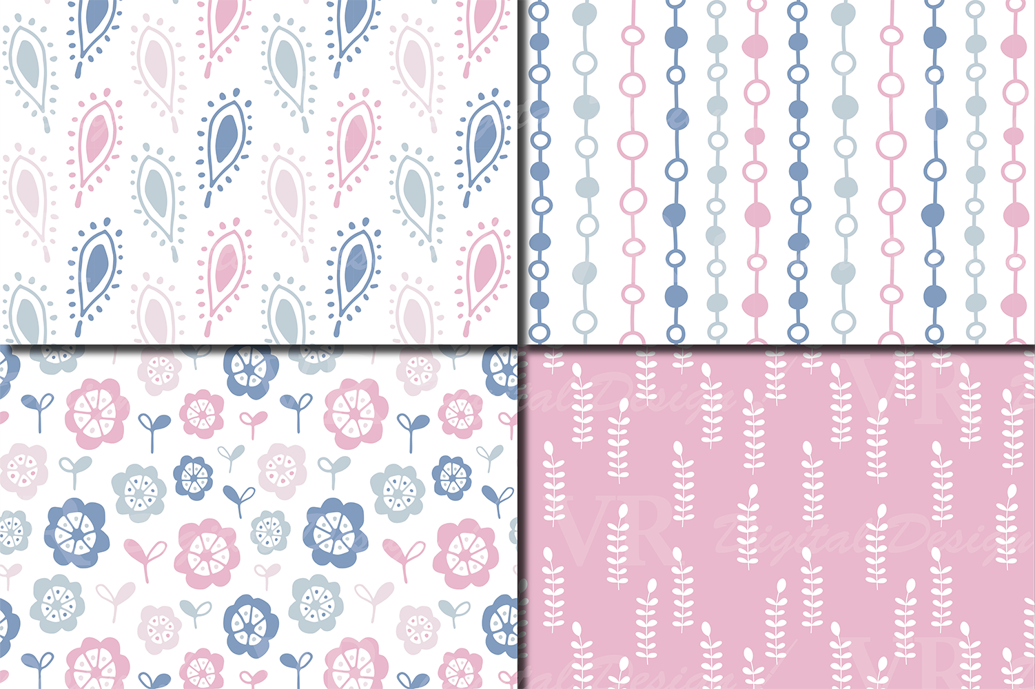 Romantic Blue Pink Floral Seamless Digital Paper Patterns