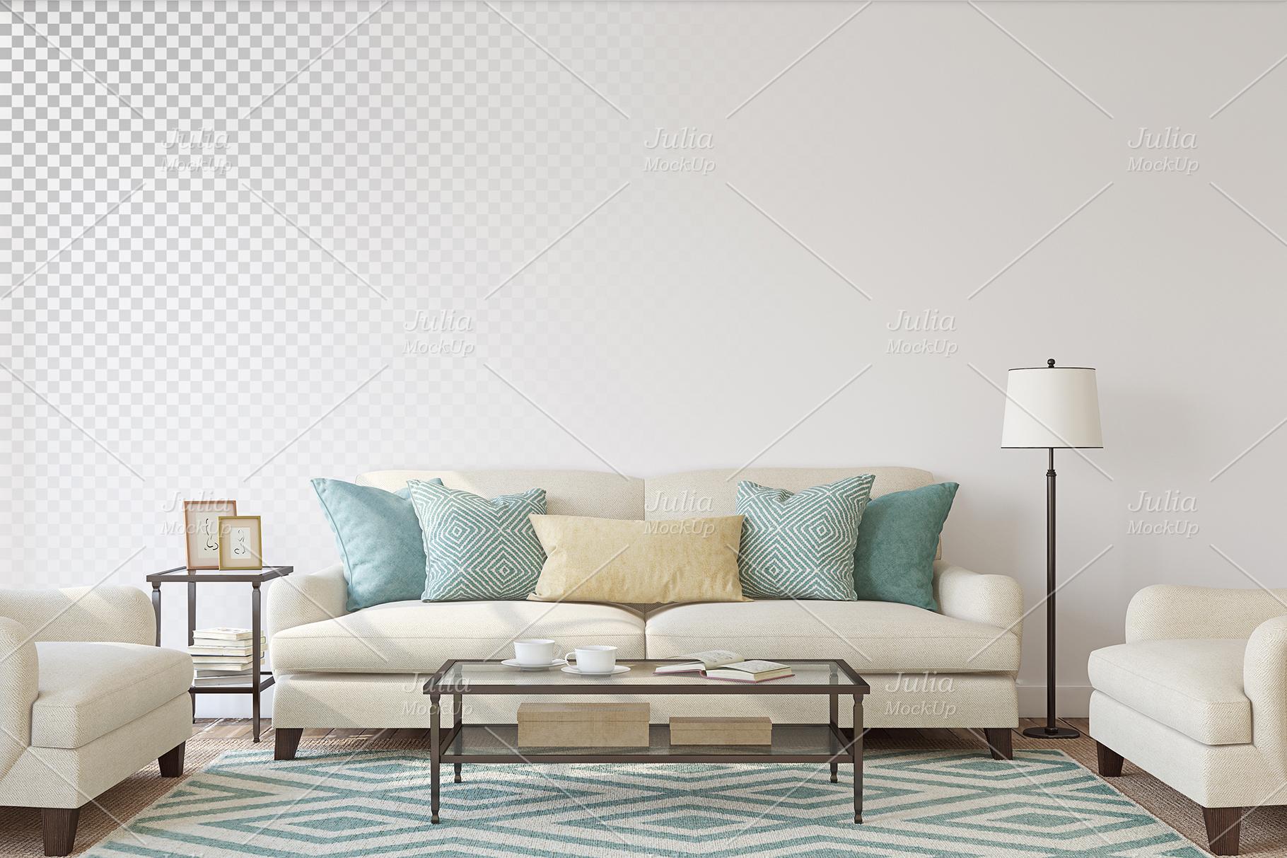 Living-room interiors. Wall&Frames Mockup. example image 2