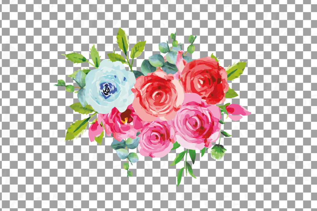Boho pink and blue watercolor wedding bouquets, floral png example image 14