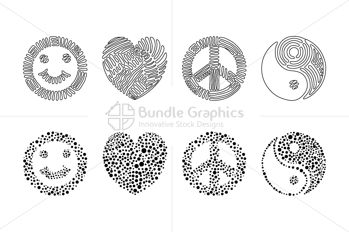 Smile, love, peace, balance - linear & dotted style Illustration Set example image 2