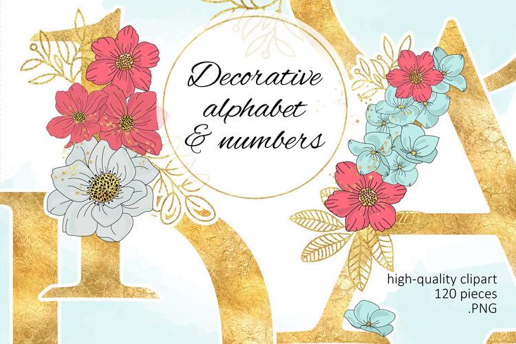 BLOOM Gold Floral Decorative Alphabet Number Set example image 1