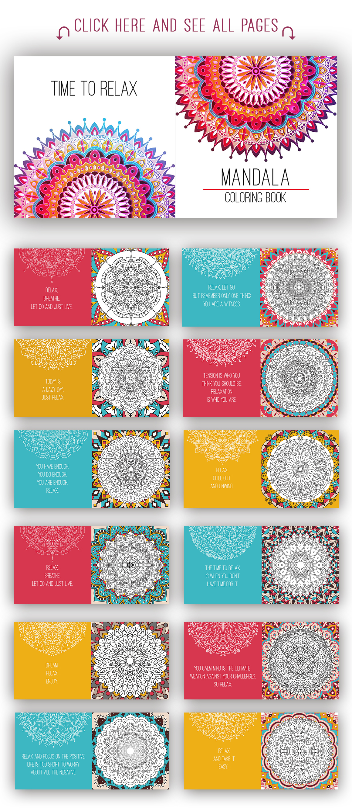Mandala coloring book for adults.