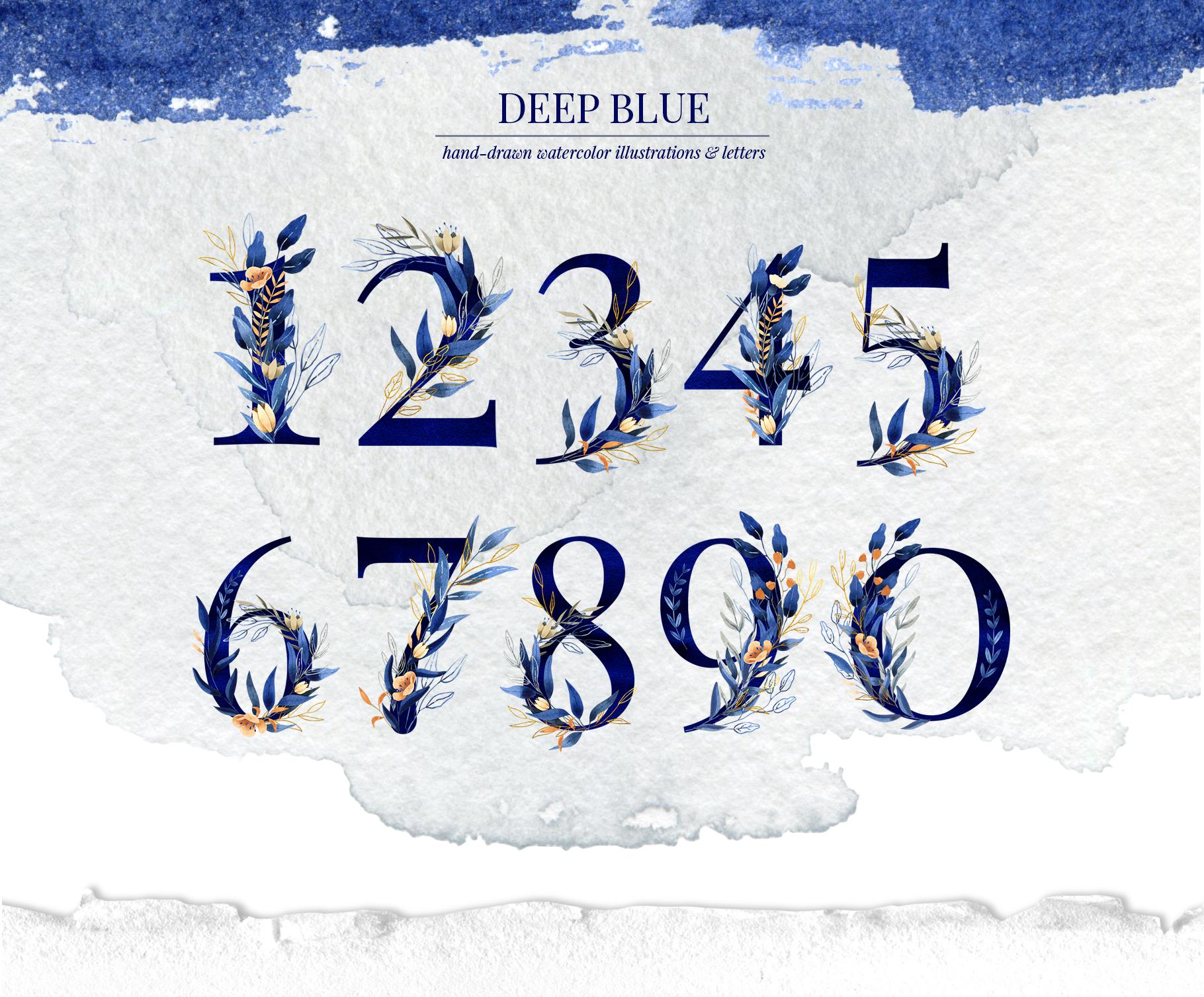 Deep Blue Alphabet Watercolor Design Kit example image 5