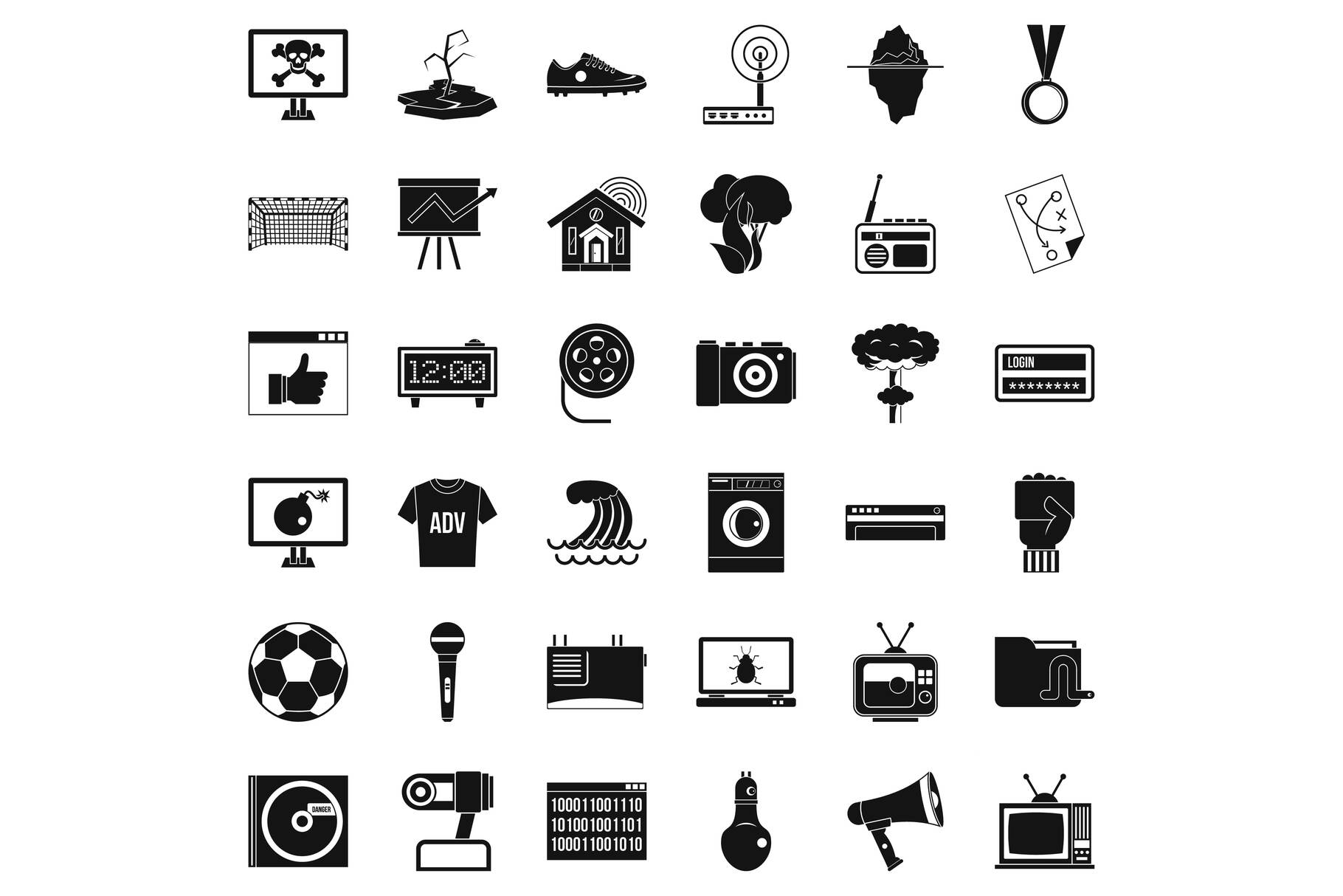 TV icons set, simple style example image 1
