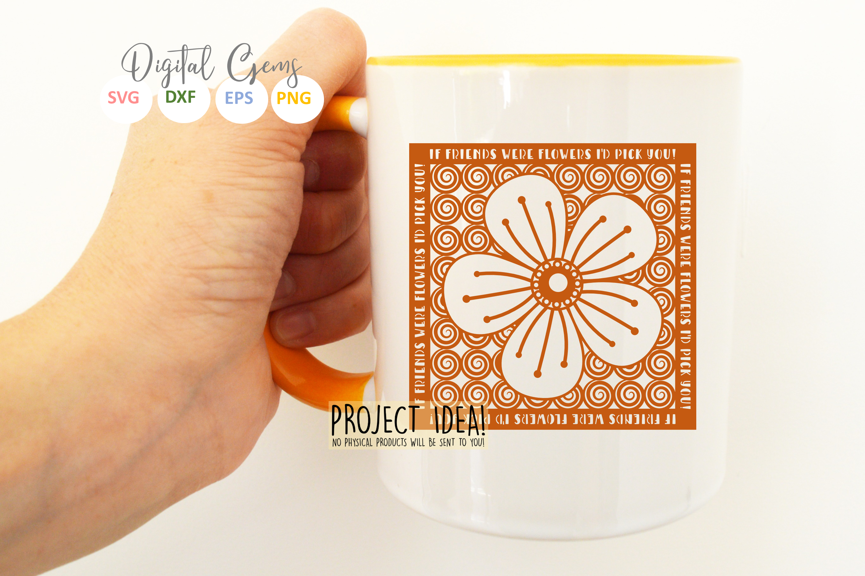 If friends were flowers paper cut SVG / DXF / EPS files example image 6