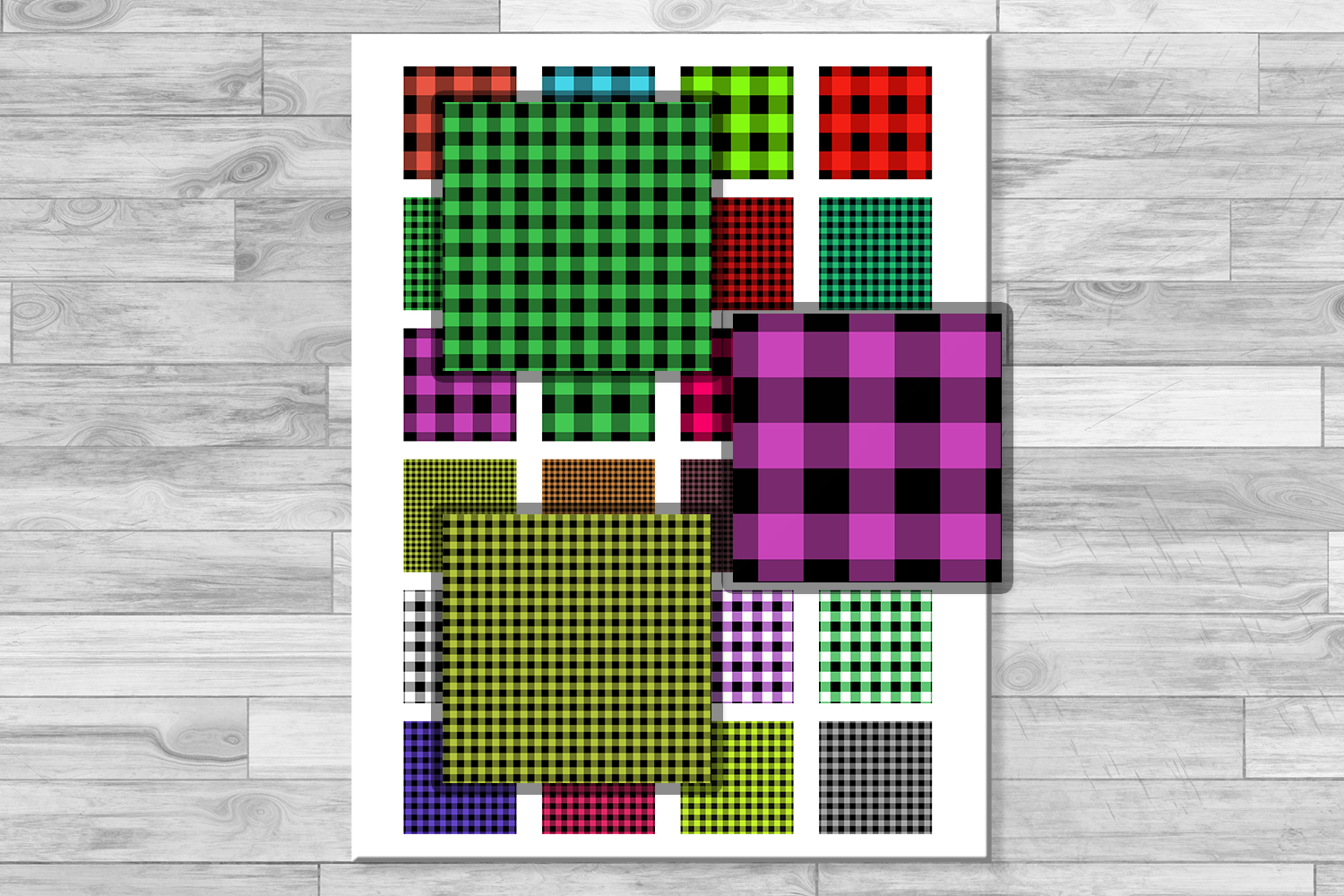 Buffalo Plaid Set,Collage Sheets, Rustic,1.5x1.5inch,1x1inch example image 2